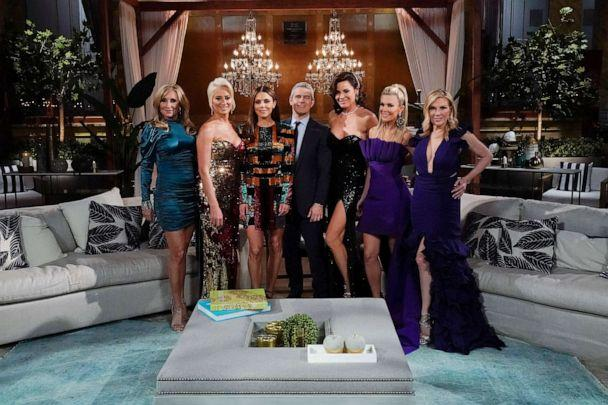 PHOTO:Sonja Morgan, Dorinda Medley, Bethenny Frankel, Andy Cohen, Luann de Lesseps, Tinsley Mortimer and Ramona Singer during the 'Reunion' for 'The Real Housewives of New York City.' (Bravo/NBCU Photo Bank via Getty Images, FILE)