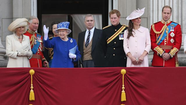 LONDON, ENGLAND - JUNE 15: Camilla, Duchess of Cornwall, Camilla, Duchess of Cornwall, Princess Anne, Princess Royal, Queen Elizabeth II, Prince Andrew, Duke of York, Prince Harry, Catherine, Duchess of Cambridge and Prince William, Duke of Cambridge stand on the balcony at Buckingham Palace during the annual Trooping the Colour Ceremony on June 15, 2013 in London, England. Today's ceremony which marks the Queens official birthday will not be attended by Prince Philip the Duke of Edinburgh as he recuperates from abdominal surgery and will also be The Duchess of Cambridge's last public engagement before her baby is due to be born next month. (Photo by Chris Jackson/Getty Images)