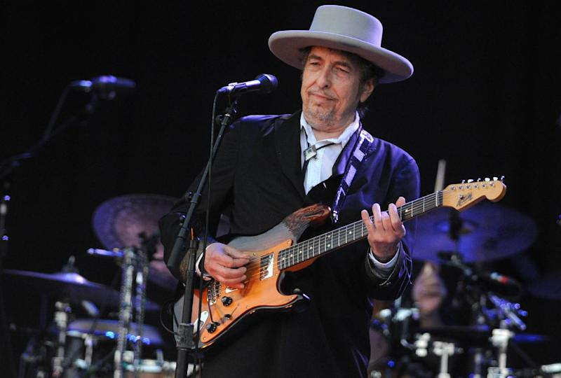 US legend Bob Dylan performs on stage during the Vieilles Charrues music festival on July 22, 2012 in Carhaix-Plouguer, western France