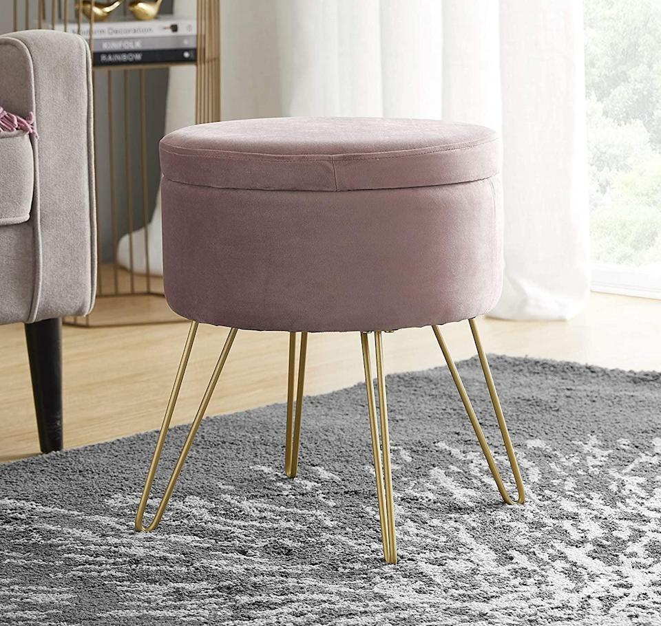<p>This <span>Ornavo Home Modern Round Velvet Storage Ottoman</span> ($54, originally $60) doubles as a chic storage solution, which makes it a great deal. The sleek look and pink velvet fabric will turn it into the centerpiece of your gatherings.</p>