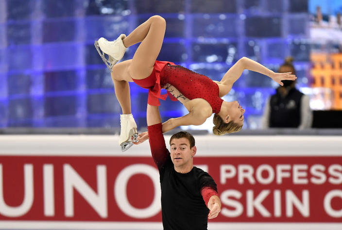 Alexa Knierim and Brandon Frazier of the USA perform during the Pairs Short Program at the Figure Skating World Championships in Stockholm, Sweden, Wednesday, March 24, 2021. (AP Photo/Martin Meissner)