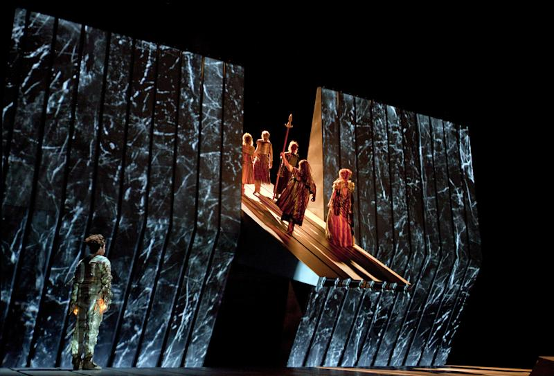 "This March 30, 2012 photo provided by the Metropolitan Opera shows a scene from Wagner's, ""Das Rheingold,"" during a dress rehearsal at the Metropolitan Opera in New York. On May 12 the Met concludes the last of three complete presentations of Robert Lepage's production of the four-opera Ring Cycle, which includes Das Rheingold; Die Walkure; Siegfried and Gotterdämmerung. (AP Photo/The Metropolitan Opera, Ken Howard)"