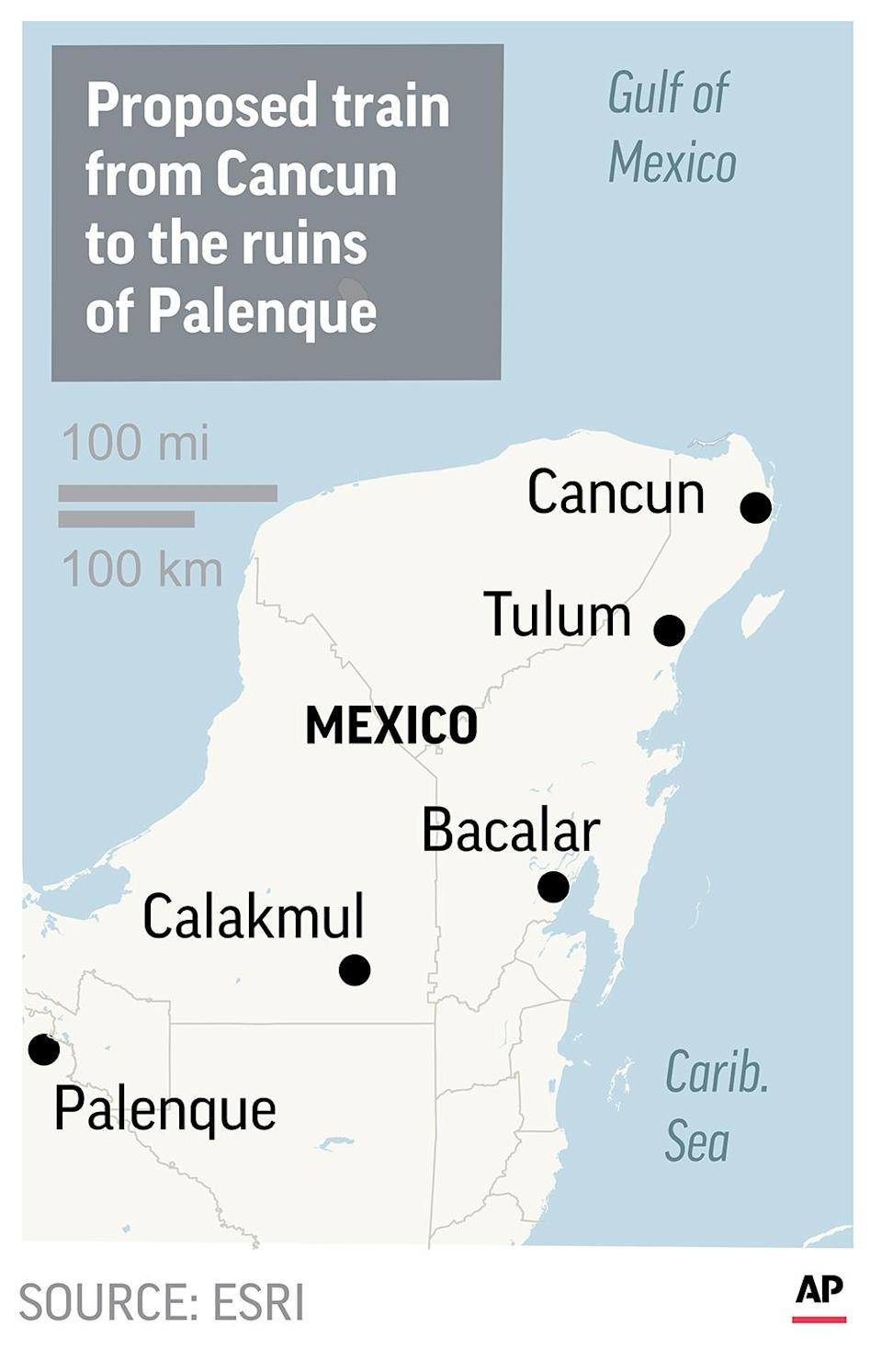 The $3.2 billion train would run from the resort of Cancun to the Mayan ruins of Palenque across the Yucatan peninsula.