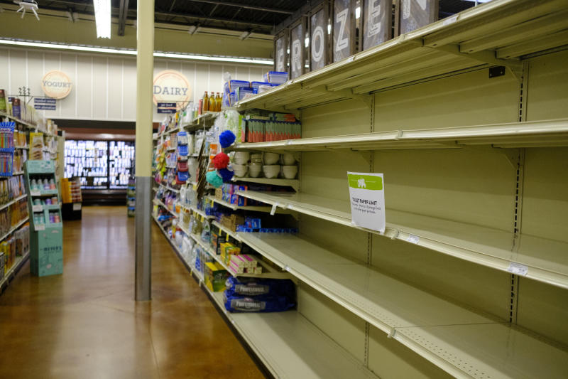 BLOOMINGTON, INDIANA, UNITED STATES - 2020/04/12: The shelves of a Fresh Thyme market are emptied of toilet paper despite a limit on Easter Sunday just before the business closed early due to the Covid-19/Coronavirus emergency, and Indiana Stay-At-Home order. (Photo by Jeremy Hogan/SOPA Images/LightRocket via Getty Images)
