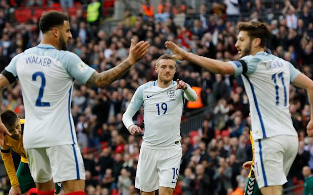 <span>Lallana set up England's second which was scored by Vardy</span>