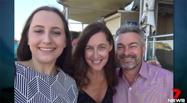 Karen Ristevski (middle), pictured with her husband and daughter. Picture: 7 News