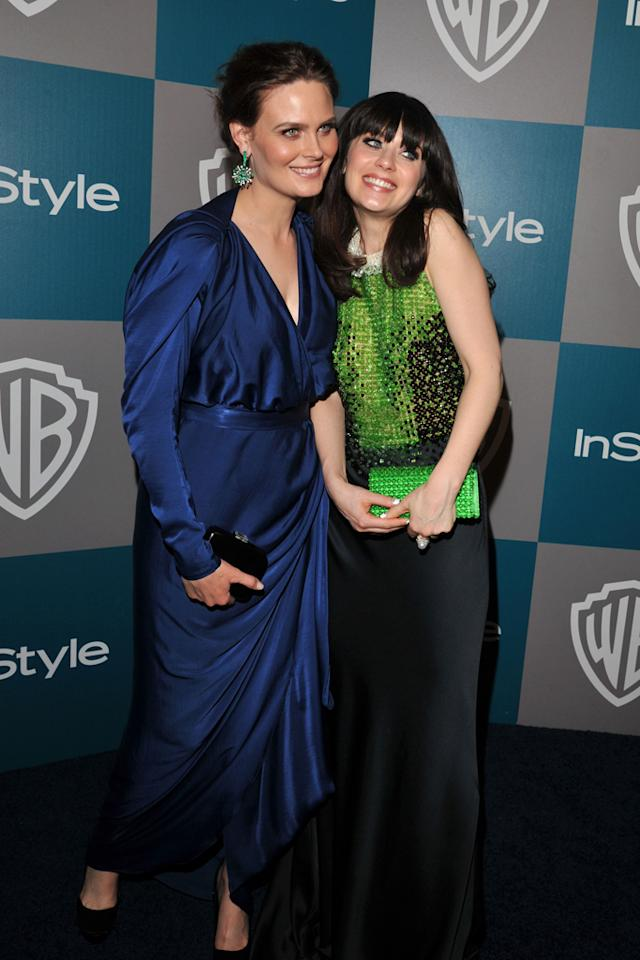 Emily Deschanel and Zooey Deschanel arrive at the 13th Annual Warner Bros. and InStyle Golden Globe After Party held at The Beverly Hilton hotel on January 15, 2012 in Beverly Hills, California.