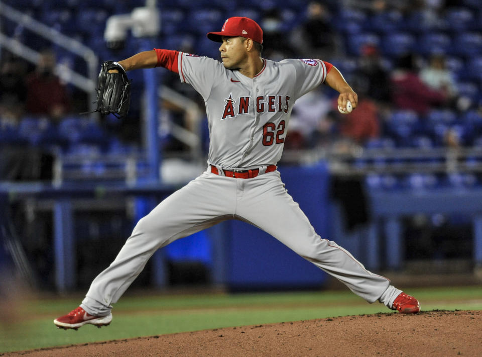 Los Angeles Angels starter Jose Quintana pitches to a Toronto Blue Jays batter during the first inning of a baseball game Saturday, April 10, 2021, in Dunedin, Fla. (AP Photo/Steve Nesius)