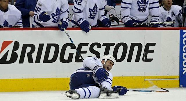 "Toronto Maple Leafs defenseman <a class=""link rapid-noclick-resp"" href=""/nhl/players/3926/"" data-ylk=""slk:Roman Polak"">Roman Polak</a> (46) lies injured on the ice against the <a class=""link rapid-noclick-resp"" href=""/nhl/teams/was/"" data-ylk=""slk:Washington Capitals"">Washington Capitals</a>. (Geoff Burke-USA TODAY Sports)"