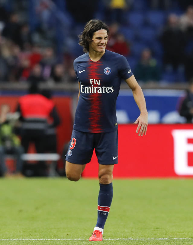 PSG's Edinson Cavani reacts during the French League One soccer match between Paris Saint-Germain and Bordeaux at the Parc des Princes stadium in Paris, Saturday, Feb. 9, 2019. (AP Photo/Christophe Ena)