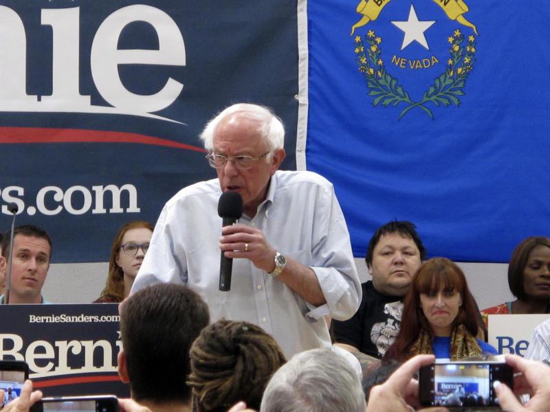 """Sen. Bernie Sanders, I-Vt., talks to several hundred people while campaigning for president at a town hall meeting at the Carson City Convention Center, Friday, Sept. 13, 2019, in Carson City, Nev. He said former Vice President Joe Biden is distorting Sanders' """"Medicare for All"""" health care plan. (AP Photo/Scott Sonner)"""