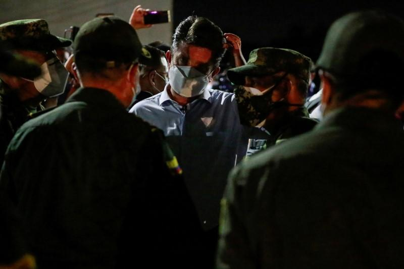 Colombia's Defense Minister Diego Molano is seen in a military battalion where a car bomb exploded, according to authorities, before a press conference, in Cucuta
