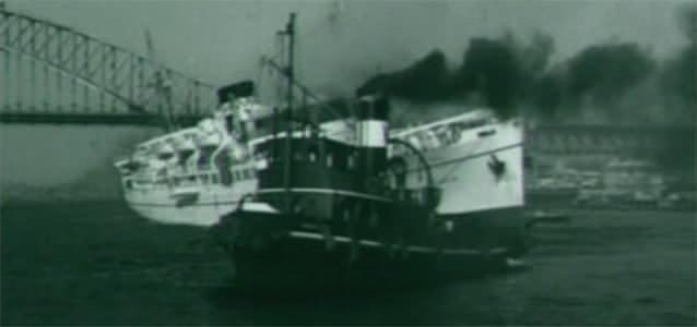 Even a fire threatened of Sydney harbour could not sink her