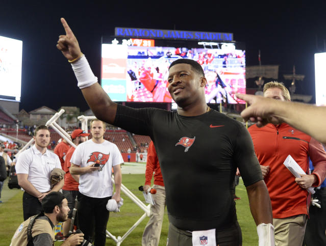 Tampa Bay Buccaneers quarterback Jameis Winston proposed to his girlfriend over the weekend. (AP)