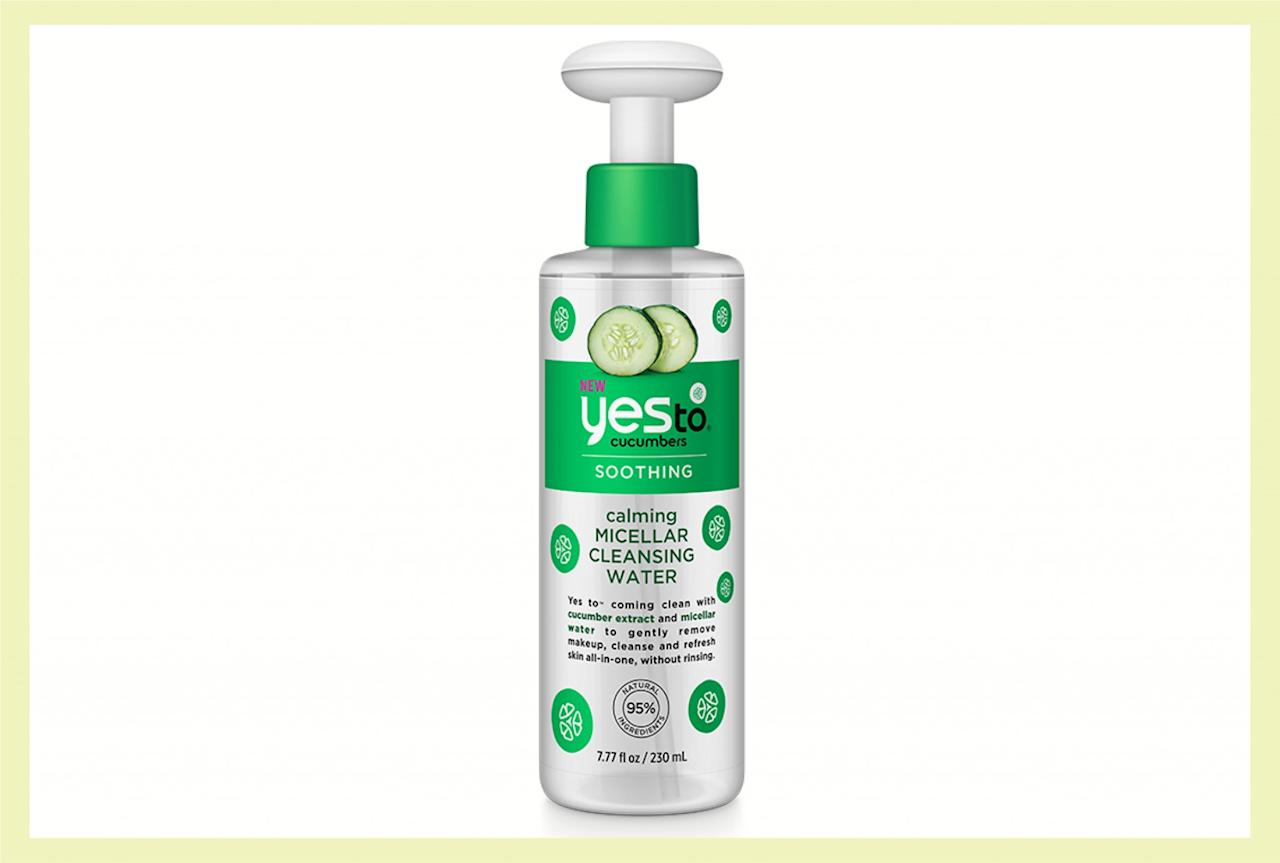 """<p>Swipe this refreshing micellar water onto your face with a cotton pad to calm your senses and your skin. Plus, you'll love its convenient design<span>—</span> keeping your sink mess-free. ($9, <a rel=""""nofollow"""" href=""""http://www.target.com/p/yes-to-cucumber-micellar-water-7-77-oz/-/A-51084282?sid=1150S&ref=tgt_adv_XS000000&AFID=google_pla_df&CPNG=PLA_Health+Beauty+Shopping_Local&adgroup=SC_Health+Beauty&LID=700000001170770pgs&network=g&device=c&location=9060351&gclid=Cj0KEQjwhpnGBRDKpY-My9rdutABEiQAWNcslPFnk3HVgedzBW-rlXbpiI6h-PLeLk58D7vak8e1dxgaArXE8P8HAQ&gclsrc=aw.ds"""">target.com</a>) </p>"""