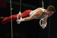 Brody Malone competes on the still rings during the men's U.S. Olympic Gymnastics Trials Saturday, June 26, 2021, in St. Louis. (AP Photo/Jeff Roberson)