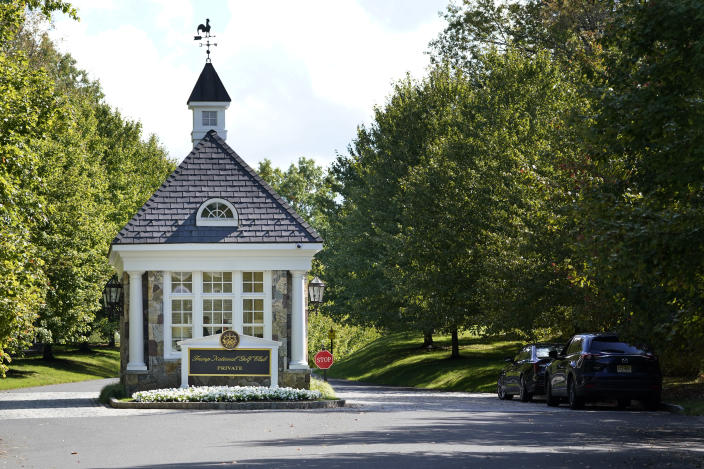 FILE - In this Friday, Oct. 2, 2020, file photo, the entrance to Trump National Golf Club is seen in Bedminster, N.J. The PGA of America voted Sunday, Jan. 10, 2021, to not play the 2022 PGA Championship at the club because of the Trump-fueled insurrection at the Capitol on Wednesday, Jan. 6. (AP Photo/Seth Wenig, File)
