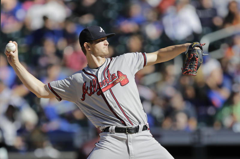 Atlanta Braves starting pitcher Mike Soroka winds up during the first inning of a baseball game against the New York Mets, Sunday, Sept. 29, 2019, in New York. (AP Photo/Kathy Willens)