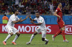 Julian Green celebrates his goal against Belgium. (AP)