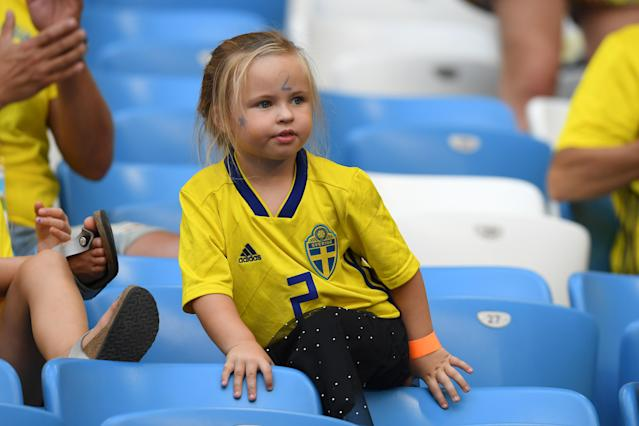 <p>Mikael Lustig of Sweden's daughter, Lexie looks on prior to the 2018 FIFA World Cup Russia Quarter Final match between Sweden and England at Samara Arena on July 7, 2018 in Samara, Russia. (Photo by Mike Hewitt – FIFA/FIFA via Getty Images) </p>