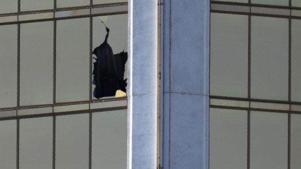 PHOTO: A broken window is seen at The Mandalay Bay Resort and Casino following a mass shooting at the Route 91 Festival in Las Vegas, Oct. 2, 2017. (Mike Blake/Reuters)