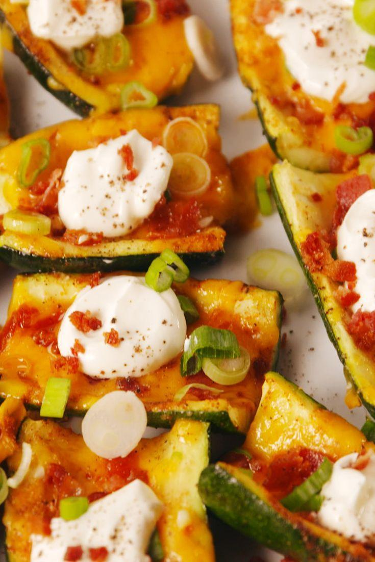 """<p>This is the low-carb solution to your potato skins craving.</p><p>Get the recipe from <a href=""""https://delish.com/cooking/recipe-ideas/recipes/a53687/loaded-zucchini-skins-recipe/"""" rel=""""nofollow noopener"""" target=""""_blank"""" data-ylk=""""slk:Delish"""" class=""""link rapid-noclick-resp"""">Delish</a>.</p>"""