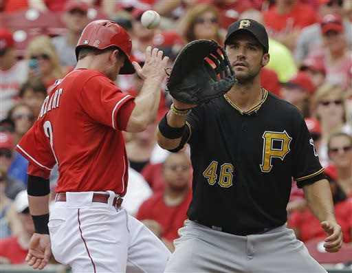 Cincinnati Reds' Zack Cozart,left, returns safely to first base as Pittsburgh Pirates first baseman Garrett Jones catches a pickoff throw from starting pitcher Jeff Locke in the fifth inning of a baseball game on Sunday, July 21, 2013, in Cincinnati. (AP Photo/Al Behrman)