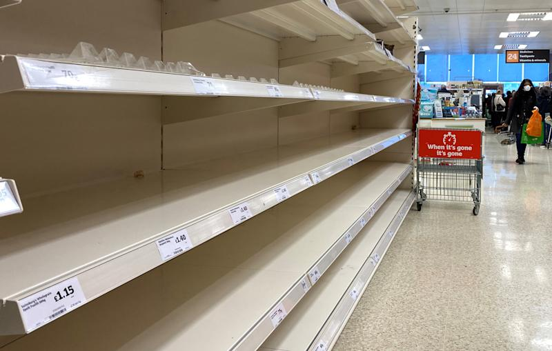 Empty shelves inside a Sainsburys supermarket in Watford as the spread of the coronavirus disease (COVID-19) continues, Watford, Britain, March 19, 2020. REUTERS/Paul Childs