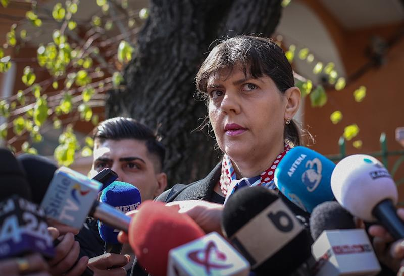 Romanian magistrate Laura Codruta Kovesi, former DNA (National Anti-corruption Department) chief arrives at a police station in Bucharest on March 29, 2019