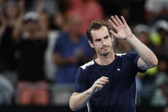 """<a class=""""link rapid-noclick-resp"""" href=""""/olympics/rio-2016/a/1211276/"""" data-ylk=""""slk:Andy Murray"""">Andy Murray</a> lost his first round match against <a class=""""link rapid-noclick-resp"""" href=""""/olympics/rio-2016/a/1195066/"""" data-ylk=""""slk:Roberto Bautista Agut"""">Roberto Bautista Agut</a> at the 2019 Australian Open, which could be his final professional match. (Photo by Fred Lee/Getty Images)"""
