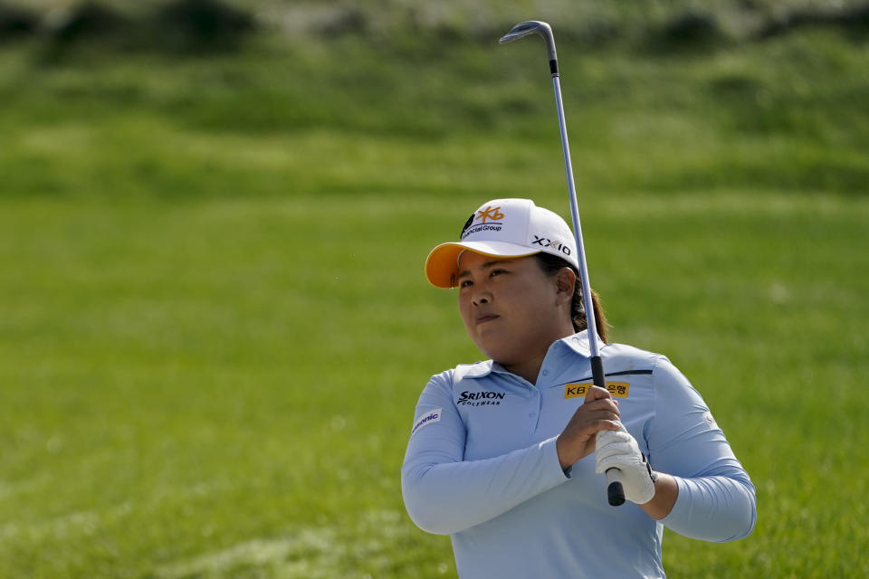 Inbee Park, of South Korea, watches her shot from a sand trap onto the 10th green in the second round of the Cognizant Founders Cup LPGA golf tournament, Friday, Oct. 8, 2021, in West Caldwell, N.J. (AP Photo/John Minchillo)