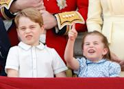 <p>Prince George with Princess Charlotte watching a flypast from the balcony of Buckingham Palace during Trooping The Colour in 2019. He didn't look so sure. (Max Mumby/Indigo/Getty Images)</p>