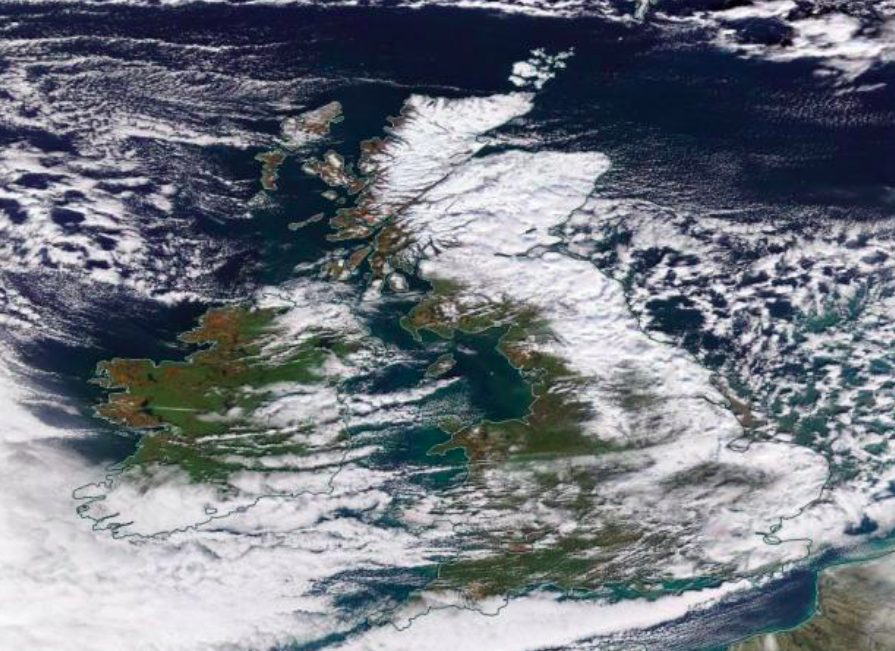 Much of the UK is seen covered in a blanket of snow as temperatures across the country plummeted. (Nasa Worldview)