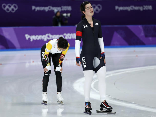 <p>Carlijn Schoutens of the United States and Jelena Peeters of Belgium react after the women's 5,000 meters speedskating race at the Gangneung Oval at the 2018 Winter Olympics in Gangneung, South Korea, Friday, Feb. 16, 2018. (AP Photo/John Locher) </p>