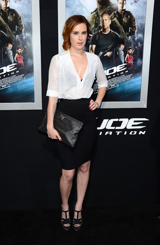 """HOLLYWOOD, CA - MARCH 28:  Actress Rumer Willis arrives at the Premiere of Paramount Pictures' """"G.I. Joe: Retaliation"""" at TCL Chinese Theatre on March 28, 2013 in Hollywood, California.  (Photo by Frazer Harrison/Getty Images)"""