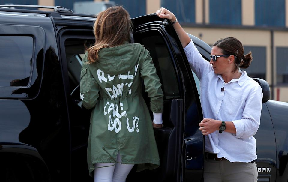"""Melania Trump sparked controversy with her Zara jacket reading """"I Really Don't Care. Do U?"""" on June 21, 2018. (Photo: Reuters/Kevin Lemarque)"""