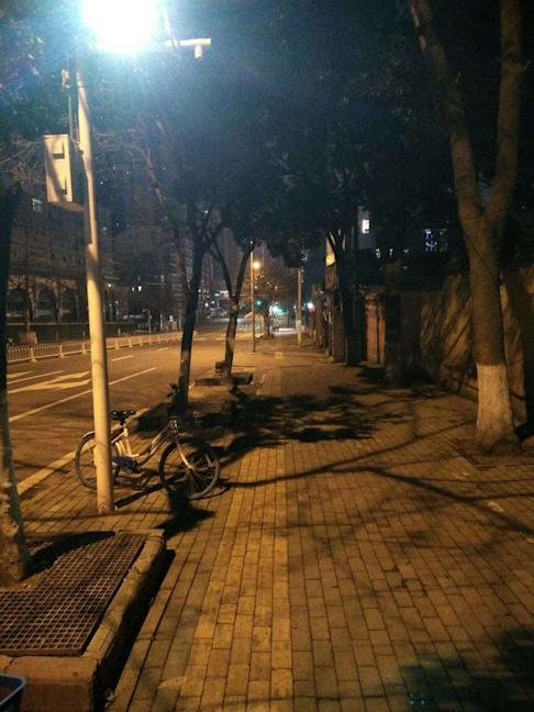 Empty streets at night in Wuhan. Photo: Handout