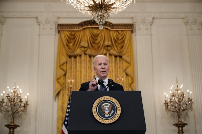 <p>Joe Biden delivers remarks on the economy in the East Room of the White House on 10 May after a weaker than expected April jobs report</p> (Getty Images)