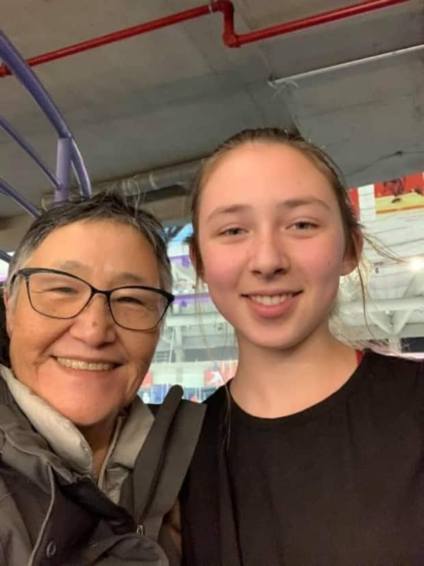Karla Williamson and her granddaughter Akutaq enjoy a visit to Red Deer, Alta., before the pandemic.
