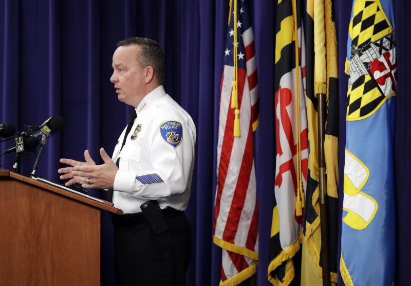Baltimore Police Department Commissioner Kevin Davis speaks at a news conference at the department's headquarters in Baltimore, Tuesday, April 4, 2017, in response to the Department of Justice's request for a 90-day delay of a hearing on its proposed overhaul of the police department. (AP Photo/Patrick Semansky)