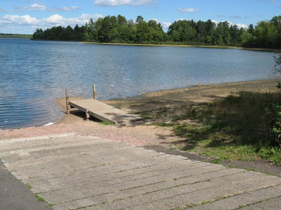 A pier that no longer reaches the lake due to dropping water levels at Big Muskellunge Lake, Wisc.