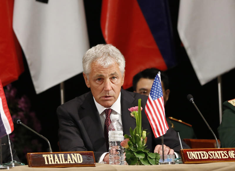 U.S. Defense Secretary Chuck Hagel speaks during a press conference after the Association of Southeast Asian Nations (ASEAN) defense ministers meeting in Bandar Seri Begawan, Brunei, Thursday, Aug. 29, 2013. (AP Photo/Vincent Thian)