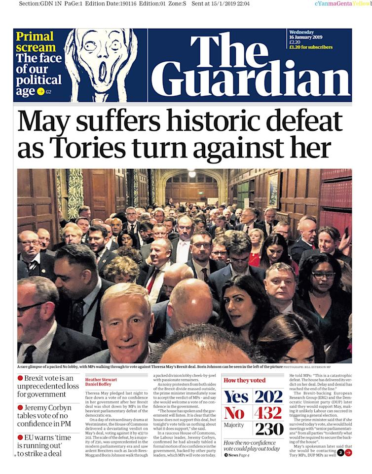 "<p>The Guardian called the Commons vote a ""historic defeat"" (Picture: The Guardian ) </p>"