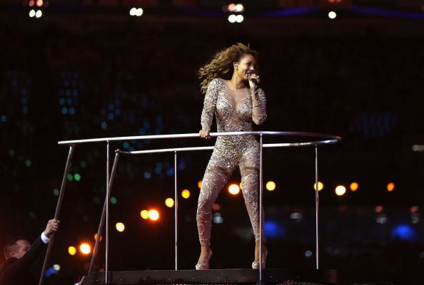 LONDON, ENGLAND - AUGUST 12: Melanie Brown of The Spice Girls during the Closing Ceremony on Day 16 of the London 2012 Olympic Games at Olympic Stadium on August 12, 2012 in London, England. (Photo by Hannah Johnston/Getty Images)