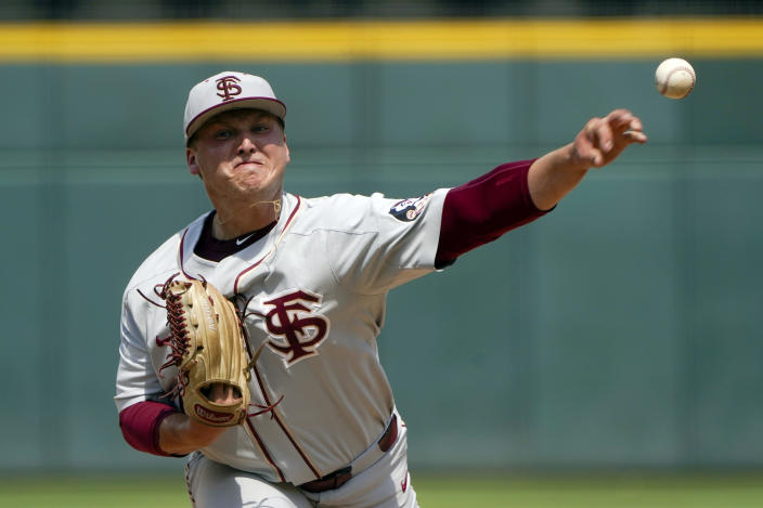 Florida State pitcher Parker Messick throws against Miami in the first inning of an NCAA college baseball game at the Atlantic Coast Conference tournament on Friday, May 28, 2021, in Charlotte, N.C. (AP Photo/Chris Carlson)