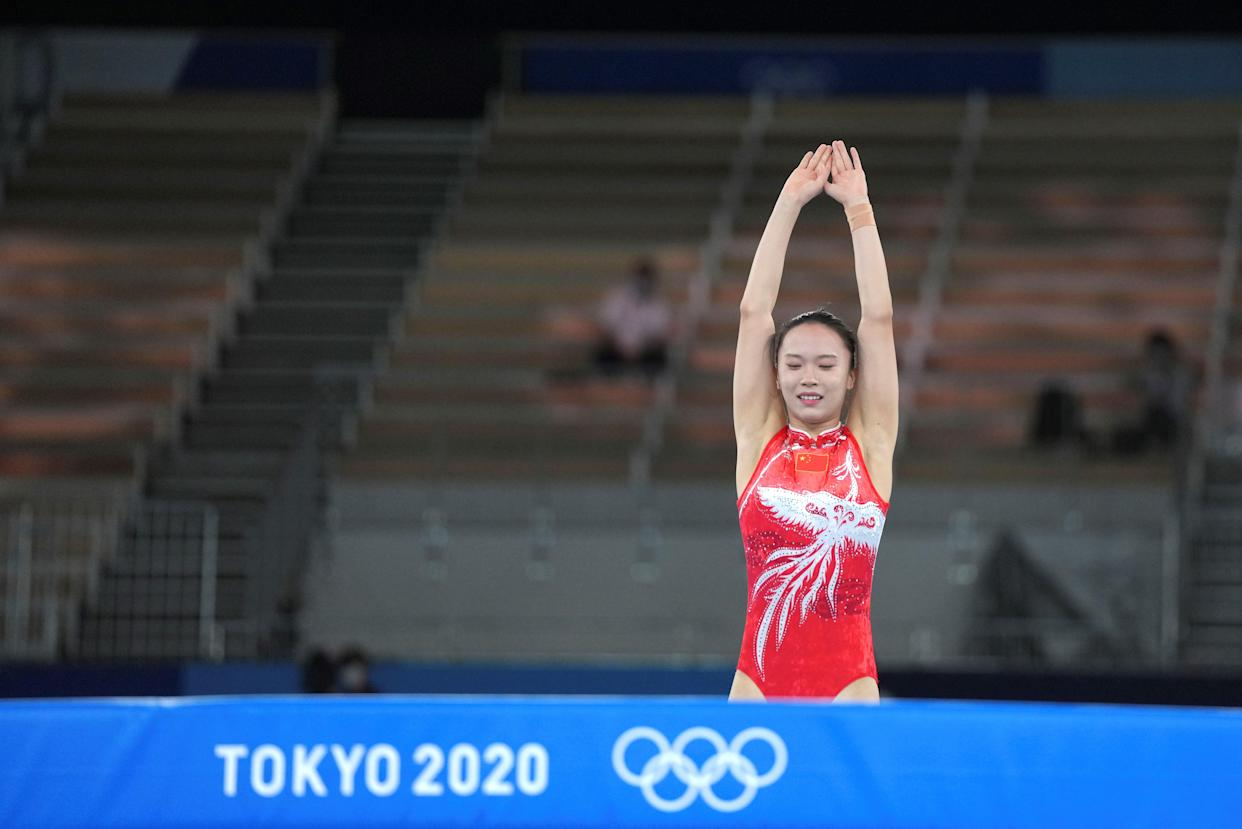 Zhu Xueying of China is seen during the women's final of trampoline gymnastics at the Tokyo 2020 Olympic Games in Tokyo, Japan, July 30, 2021. (Photo by Cheng Min/Xinhua via Getty Images)