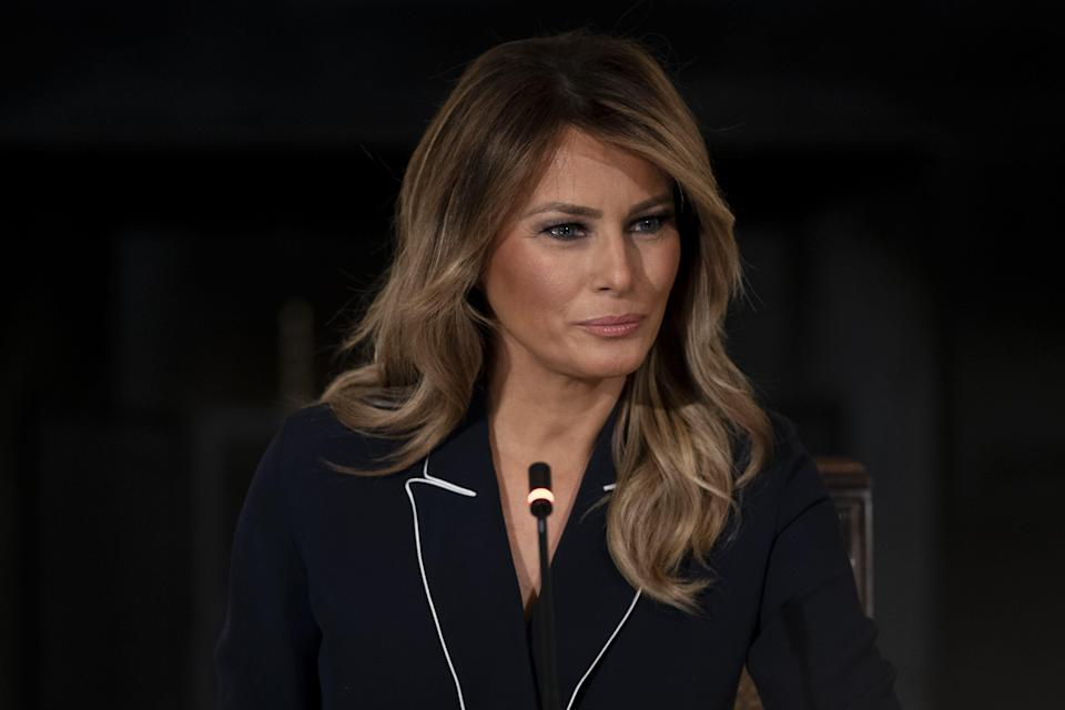 First lady Melania Trump attends a meeting in the State Dining Room of the White House on July 23, 2020.