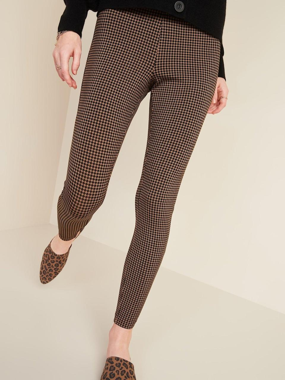 <p>These <span>Old Navy High-Waisted Stevie Printed Ponte-Knit Pants</span> ($33) would look great with a cardigan.</p>