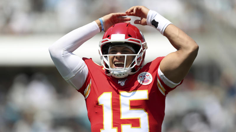 Kansas City Chiefs quarterback Patrick Mahomes (15) celebrates after a touchdown pass during an NFL football game against the Jacksonville Jaguars, Sunday, Sept. 8, 2019, in Jacksonville, Fla. The Chiefs defeated the Jaguars 40-26. (AP Photo/Perry Knotts)