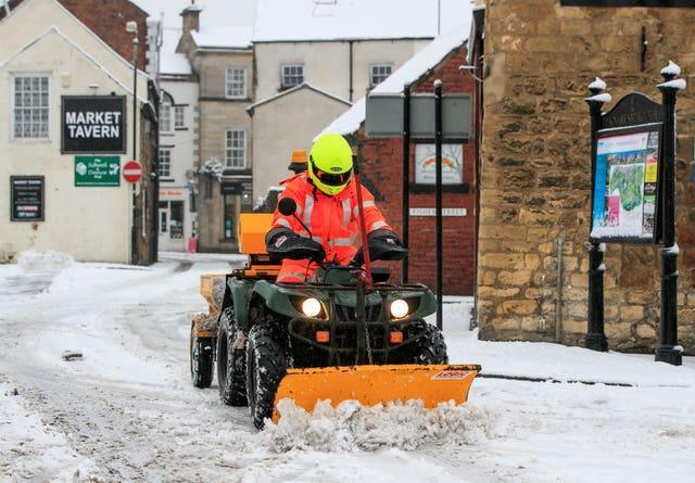 Snow is cleared in Knaresborough
